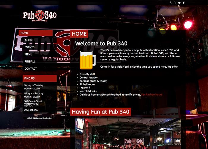 Pub340 Website home page