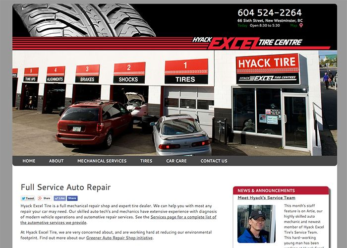 Hyack Excel Tire Website home page